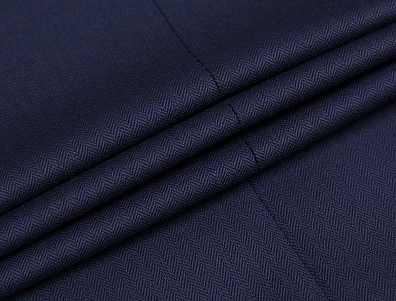 Excelled Herringbone Pinstriped Vigin Wool Suiting Fabric